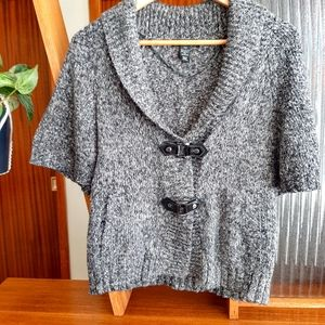 Style & Co. Grey Cardigan Sweater buckles